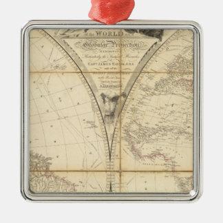 Mapa del mundo ornamento de navidad