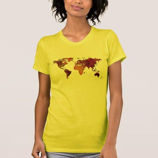 Mapa del mundo Otoño-entonado rústico Camisetas
