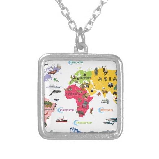 Mapa del mundo para los niños - blancos y brillant joyerias