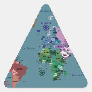 Mapa del mundo para los niños con las banderas pegatina trianguladas personalizadas