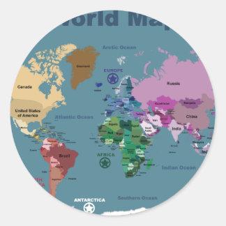 Mapa del mundo para los niños con las banderas pegatinas redondas