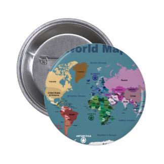 Mapa del mundo para los niños con las banderas pin redondo de 2 pulgadas