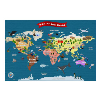 Mapa del mundo para los niños - exploremos poster