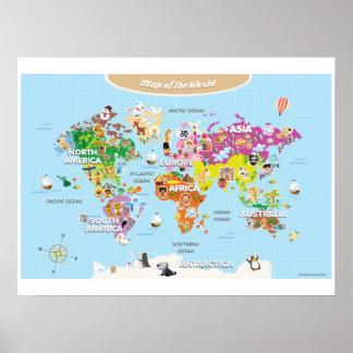 Mapa del mundo para los niños - lindos y coloridos póster