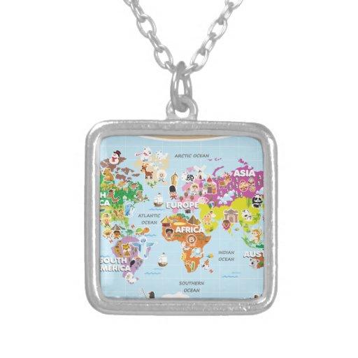 Mapa del mundo para los niños - lindos y la divers colgante cuadrado