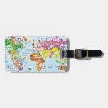Mapa del mundo para los niños - lindos y la divers etiquetas maleta