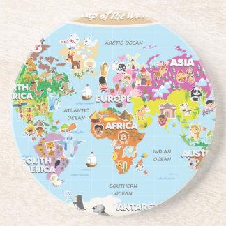 Mapa del mundo para los niños - lindos y la divers posavasos personalizados
