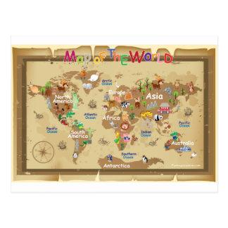 Mapa del mundo para los niños - tonos terrosos postal