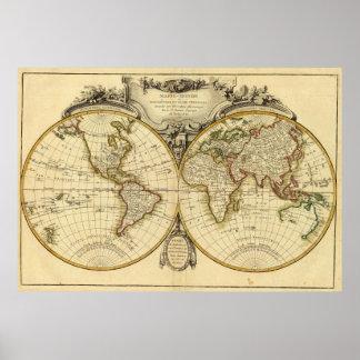 Mapa del mundo pasado de moda (1782) posters