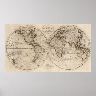 Mapa del mundo pasado de moda (1795) póster