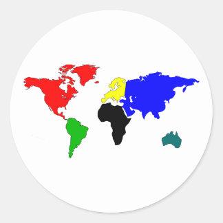 Mapa del mundo pegatina redonda