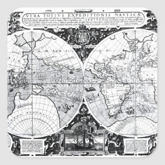 Mapa del mundo pegatina cuadrada