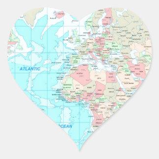 Mapa del mundo pegatina en forma de corazón