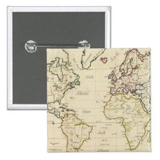 Mapa del mundo pin cuadrado