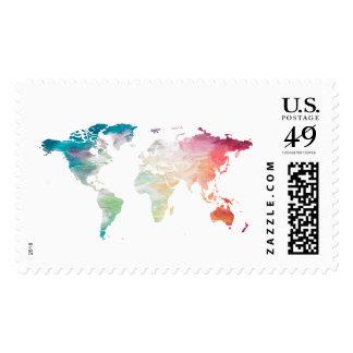 Mapa del mundo pintado sello postal