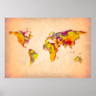 mapa del mundo, pintura abstracta póster