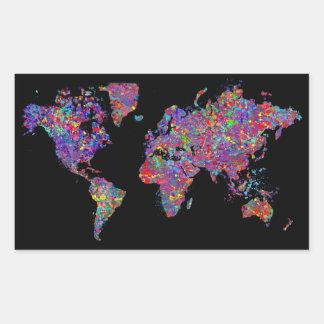 Mapa del mundo, pintura de la acción etiquetas