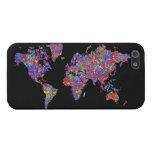 Mapa del mundo, pintura de la acción iPhone 5 fundas