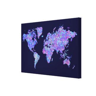 Mapa del mundo, pintura de la acción lona envuelta para galerías