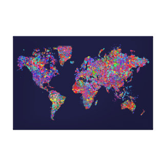 Mapa del mundo, pintura de la acción lienzo envuelto para galerías