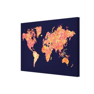 Mapa del mundo, pintura de la acción impresion en lona