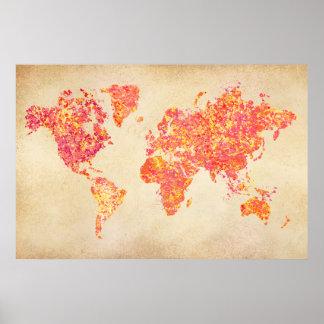 Mapa del mundo pintura de la acción posters