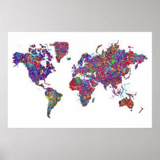 Mapa del mundo pintura de la acción poster