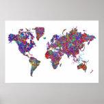 Mapa del mundo, pintura de la acción poster