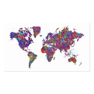 Mapa del mundo, pintura de la acción tarjeta personal