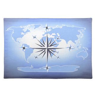 Mapa del mundo Placemat del rosa de compás del Manteles