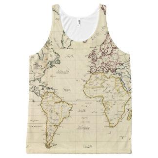 Mapa del mundo playera de tirantes con estampado integral