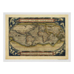 Mapa del mundo por Ortelius 1570 Poster