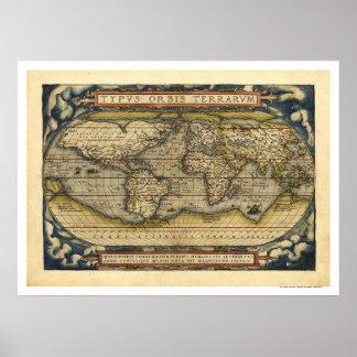 Mapa del mundo por Ortelius 1570 Póster