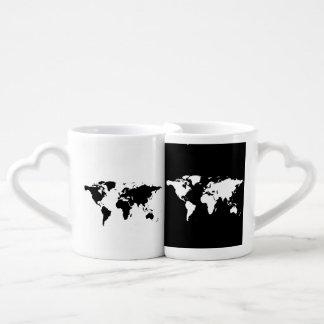 mapa del mundo positivo negativo tazas para parejas
