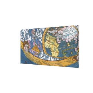 Mapa del mundo Ptolemaic antiguo; Claudius Lienzo Envuelto Para Galerias