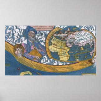 Mapa del mundo Ptolemaic antiguo; Claudius Póster
