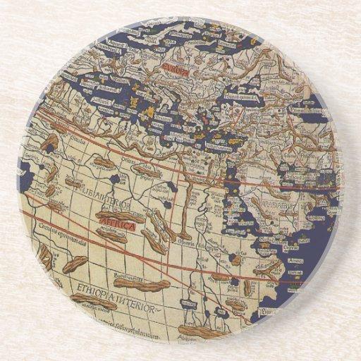 Mapa del mundo Ptolemaic antiguo del vintage, 1482 Posavasos Manualidades