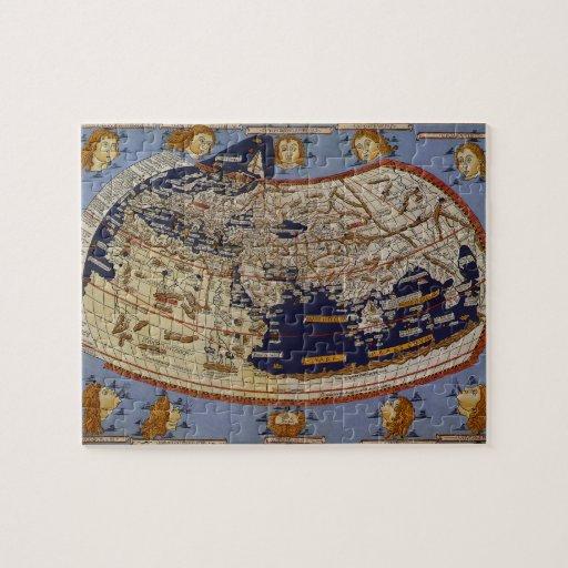 Mapa del mundo Ptolemaic antiguo del vintage, 1482 Puzzle