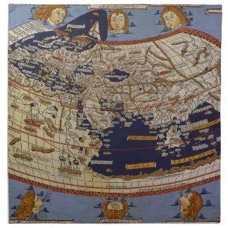 Mapa del mundo Ptolemaic antiguo del vintage, 1482 Servilletas
