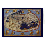 Mapa del mundo Ptolemaic antiguo del vintage, 1482 Tarjeta De Felicitación
