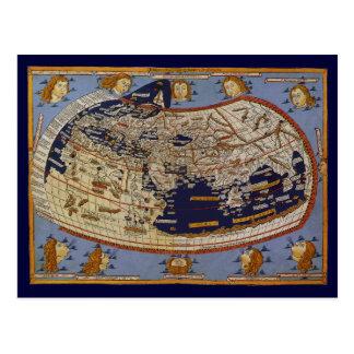 Mapa del mundo Ptolemaic antiguo del vintage, 1482 Tarjeta Postal
