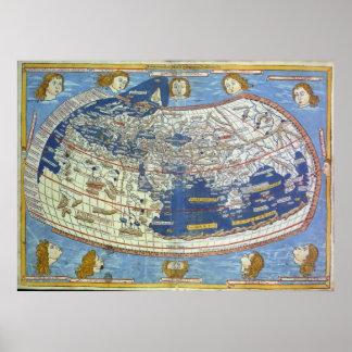 Mapa del mundo Ptolemaic Póster