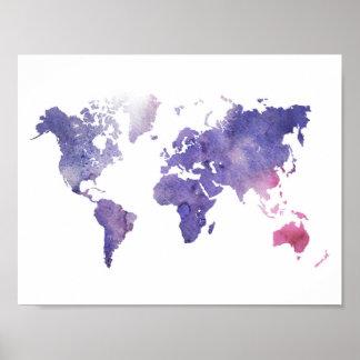 Mapa del mundo púrpura de la acuarela póster