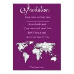 Mapa del mundo púrpura invitación 12,7 x 17,8 cm