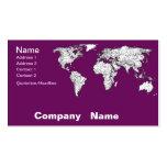 Mapa del mundo púrpura tarjeta de visita