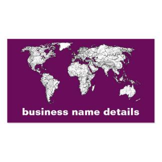 Mapa del mundo púrpura tarjetas de visita