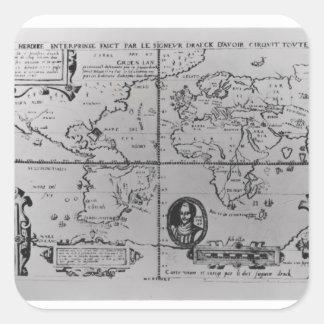 Mapa del mundo que detalla a las expediciones pegatina cuadradas personalizada