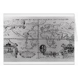 Mapa del mundo que detalla a las expediciones tarjeta de felicitación