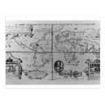 Mapa del mundo que detalla a las expediciones postal