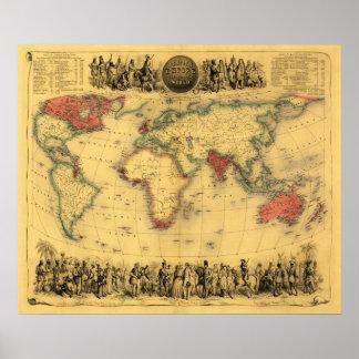 Mapa del mundo que muestra el mapa británico de Em Póster
